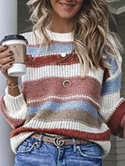 Long Sleeve Crew Neck Striped Sweaters