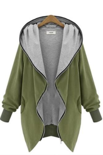 Fashion Zipper Long Sleeve Large Size Coat