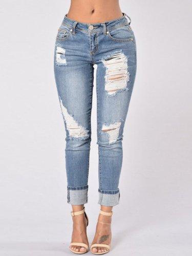 Worn Hole Patchwork Gradient Pocket Jeans