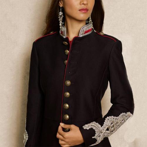 England Style Stand Collar Women Long Sleeve Decorative Button Blazer