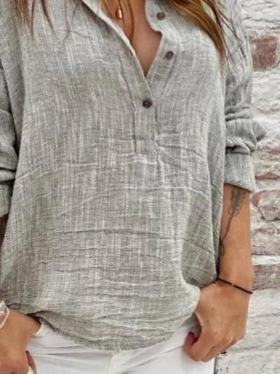 Plain Casual Linen Shirt Collar Shirts & Tops