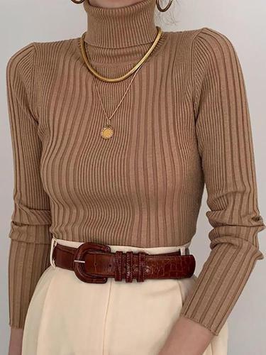 Fashion High Collar Brown Pit Slim Knit Sweater