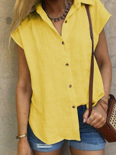 Casual Plain Shirt Collar Cotton-Blend Blouses&shirts