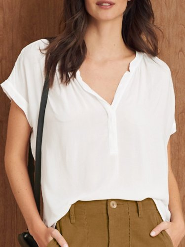 Cotton Solid V Neck Shirts & Tops