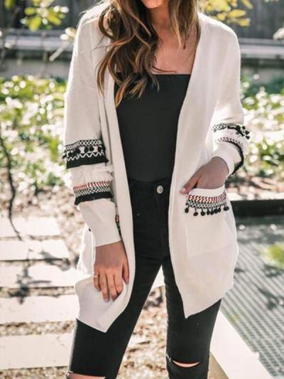 Fashion Splicing Long-Sleeved Women's Long Cardigan Sweater