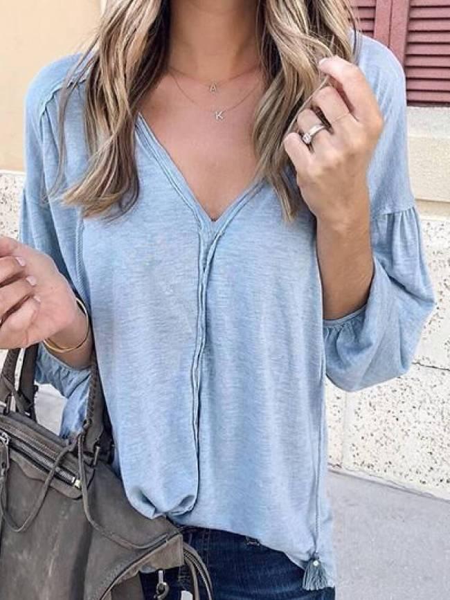 Cotton-Blend V Neck Solid Long Sleeve Shirts & Tops