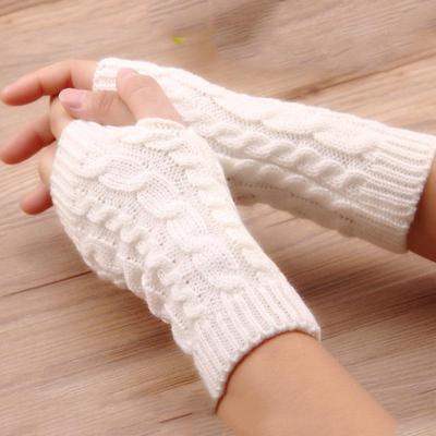 Women Wool Mitten Warm Fingerless Gloves Hand Warmer