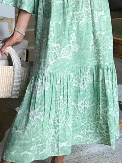 Green Floral Casual Dresses