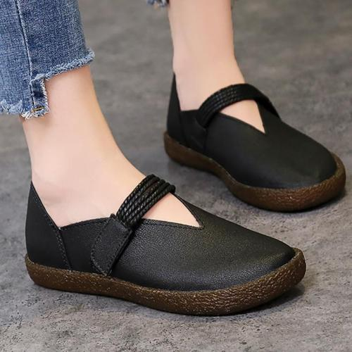 Women PU Flat Loafers Casual Comfort Magic Tape Shoes