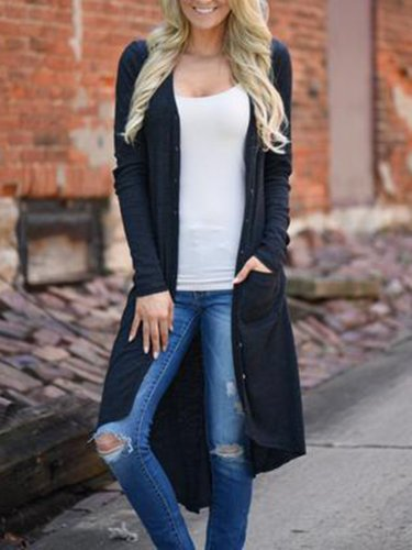 Pockets Casual Solid Long Cardigan