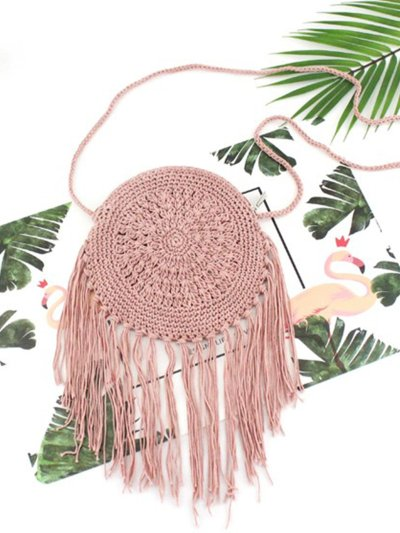 Women Hand-Woven Straw Shoulder Bag Tassel Beach Bag Handbag