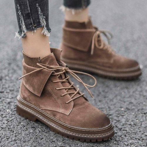 Women Street Style Martin Boots Casual Lace Up Boots