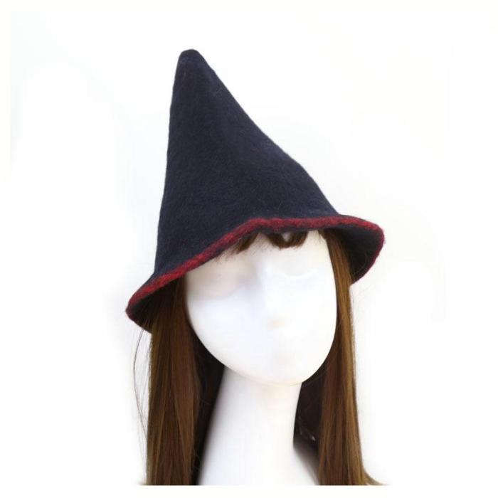 pointed wool hat handmade wool felt rainbow wizard felt hat