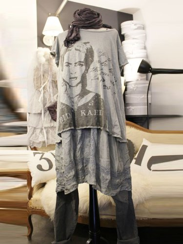 Women Gray Round Neck Casual Shirts & Tops