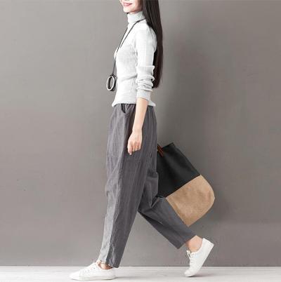 Solid Color Cotton Linen Large Size Women's Pants