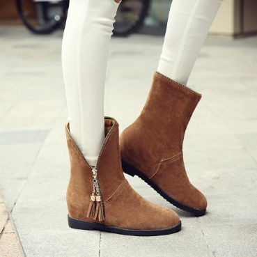 Yellow Suede Flat Heel Zipper Spring/Fall Daily Boots