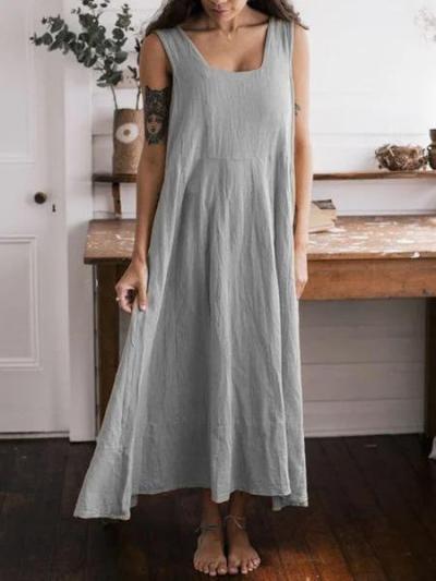 Khaki Sleeveless Big Hem Dress Sexy Dresses