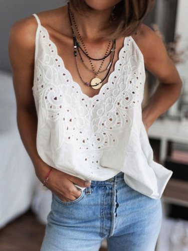 Plain Sleeveless V Neck Shirts & Tops