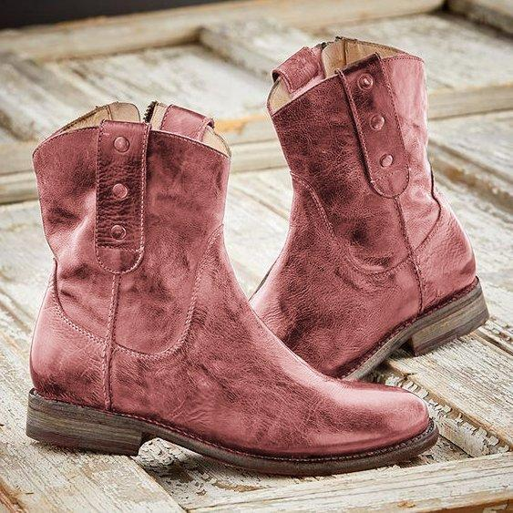 Women Casual Vintage Boots With Side Zipper