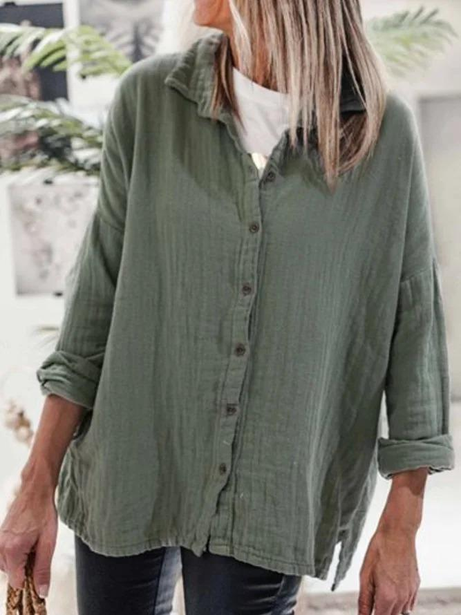 Casual Long Sleeve Plus Size Tops Blouse
