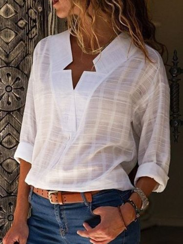 Elegant V Neck Paneled Blouse