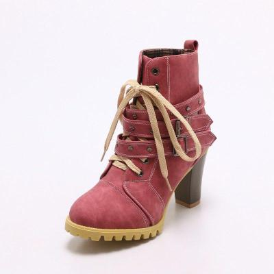 Women Lace Up Booties Casual Comfort Chunky Heel Shoes