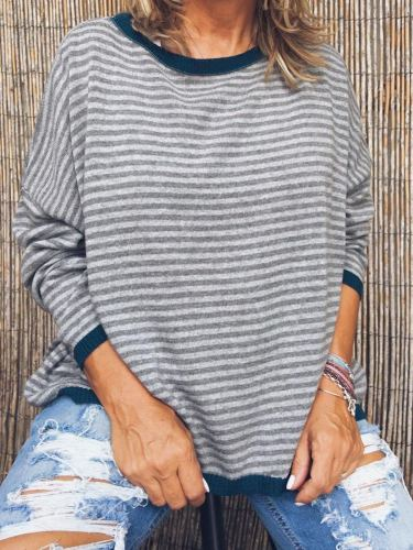 Plus Size Casual Stripes Long Sleeve Tops
