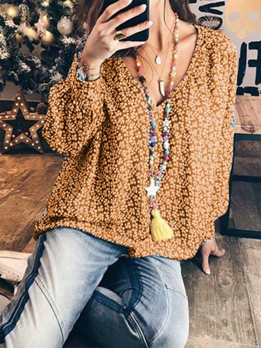 Sweet Long Sleeve Sheath Cotton Shirts & Tops