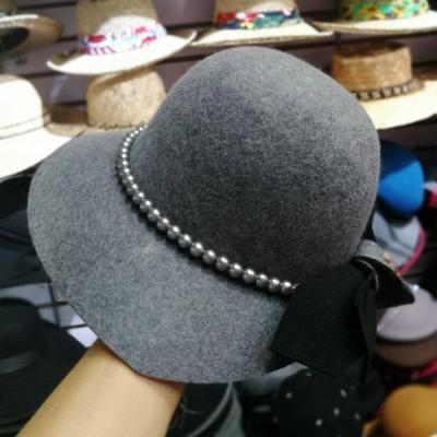 Wool Pearl  Lady Winter Fedoras Cap  Women  Leisure Hat