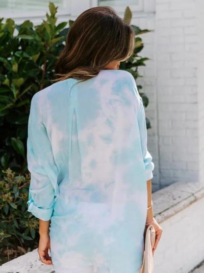 Blue Long Sleeve Ombre/tie-Dye Cotton-Blend Shirts & Tops