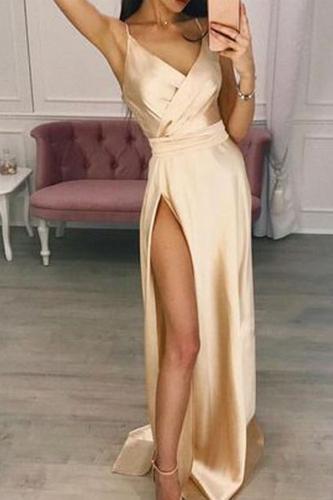 Sexy V Neck Condole Belt Dress