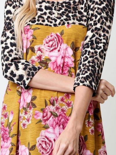 Leopard-Print Cotton-Blend Floral Long Sleeve T-Shirts