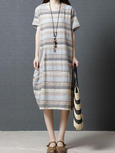 Striped Casual Linen Dress