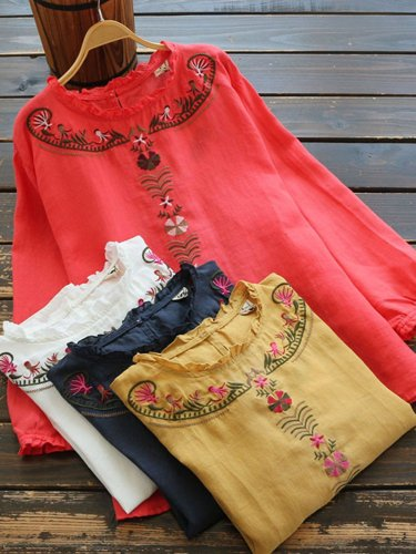 Women Casual Loose Embroidered Tops Tunic Blouse Shirt