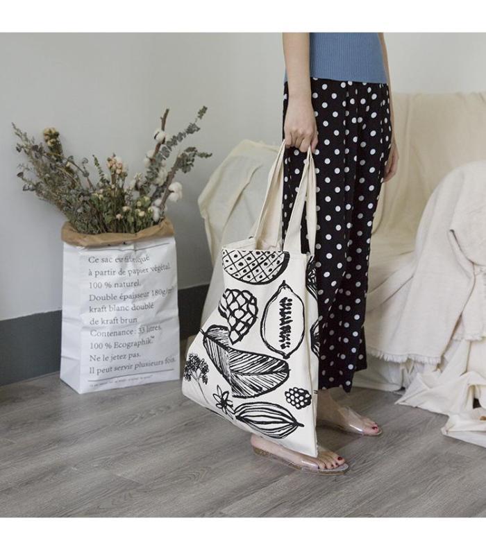Simple Printed Big Leaf Canvas Bag