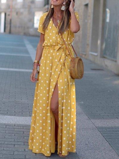 Holiday Floral-Print Polka Dots Dresses