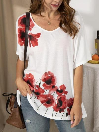 Floral Printed Vintage Cotton Shirts & Tops