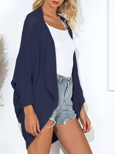 Solid Knitted Casual Cardigan