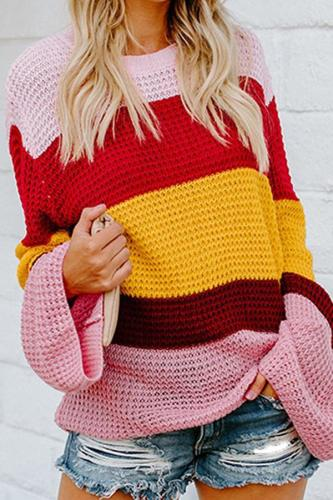 Fashion Rainbow Stitching Knit Circular Neck Sweater