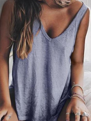 Sleeveless Solid Cotton-Blend Shirts & Tops