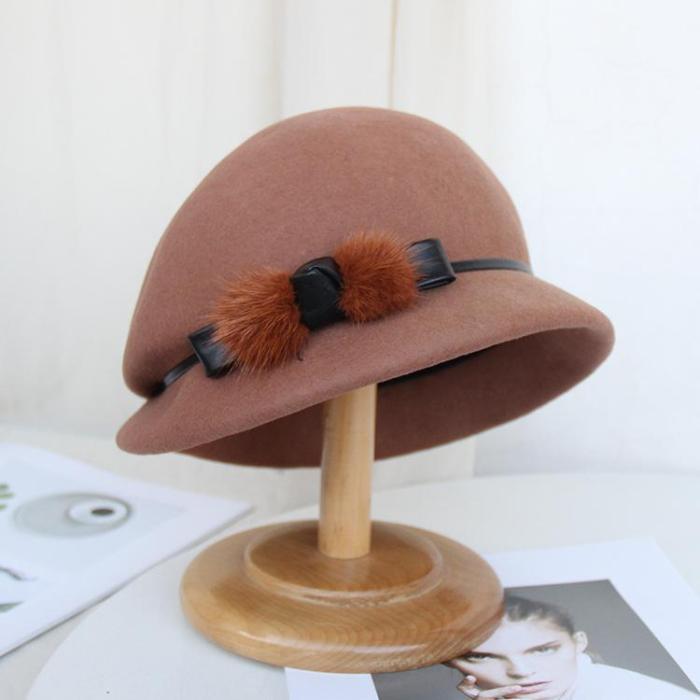 Woolen Hat Ladies Elegant Felt Hat Fisherman Hat