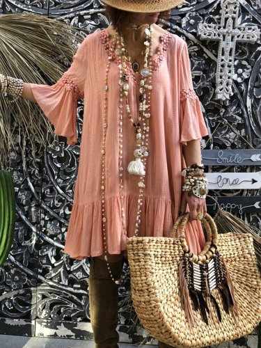 Bohemian large size casual cotton dress