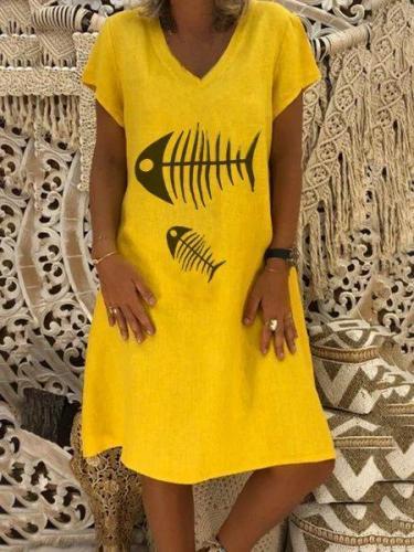 Casual V Neck Plain Short Sleeve Dresses