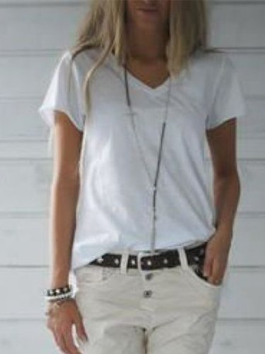 White Short Sleeve V Neck Casual Shirts & Tops
