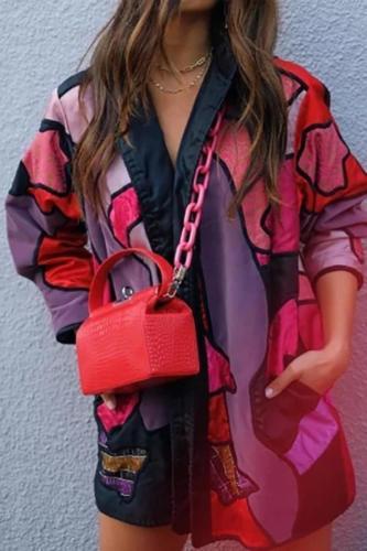 Women's Fashion Printed Color Turndown Collar Loose Overcoat