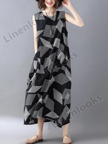 Summer Women Geometric Asymmetric Sundress Pinafore Dress Boho Chic Hippie Ethnic Style Maxi Dress