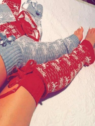 Christmas Elk Print Lace Stockings