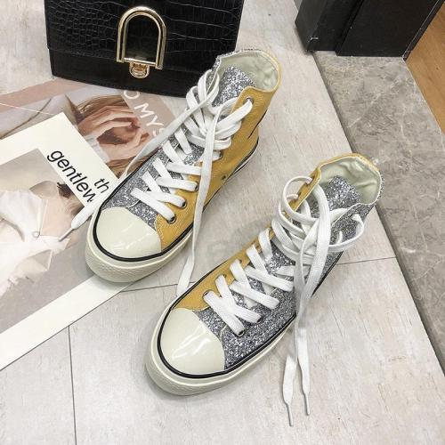 Trendy Fashion Wild Sequins Crystal Color Matching High Canvas Shoes
