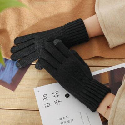 Female Knit Wool Twisted Flower Touch Screen Gloves Winter Warm Women Cashmere Jacquard Plus Velvet Thick Warm Driving Glove