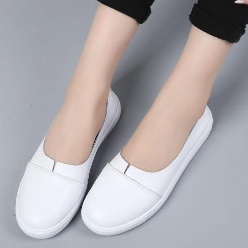 Women PU Flats Casual Comfort Slip On Plus Size Shoes